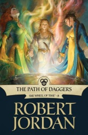 Cover of The Path of Daggers, featuring three young white women gathered around a large, glass-like bowl with swirls of magic rising out of it.