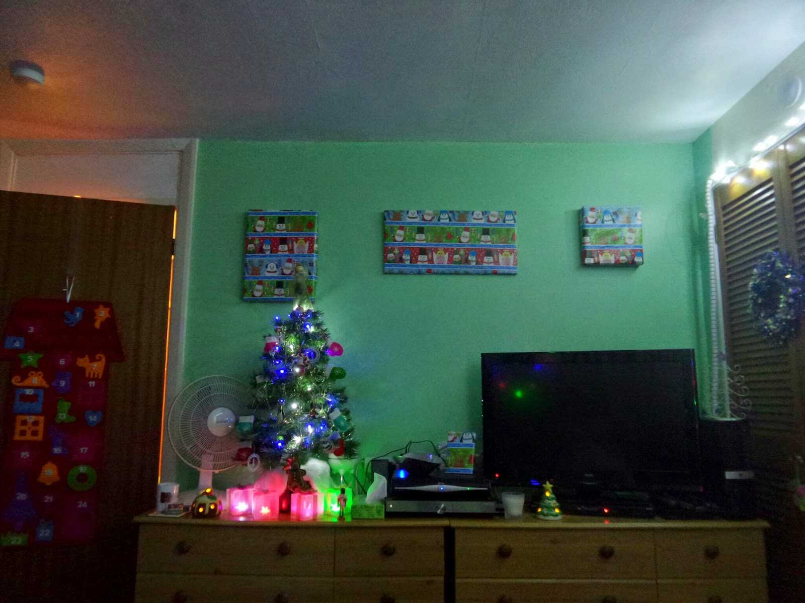 Christmas decorated units at the end of my bed. Complete with Christmas tree