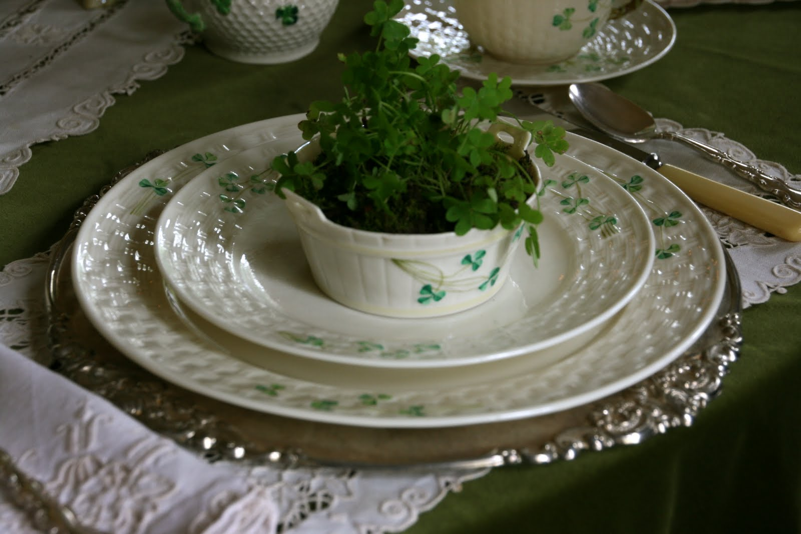 Irish Table Settings Vignette Design St Patricks Day Tablescape With Belleek