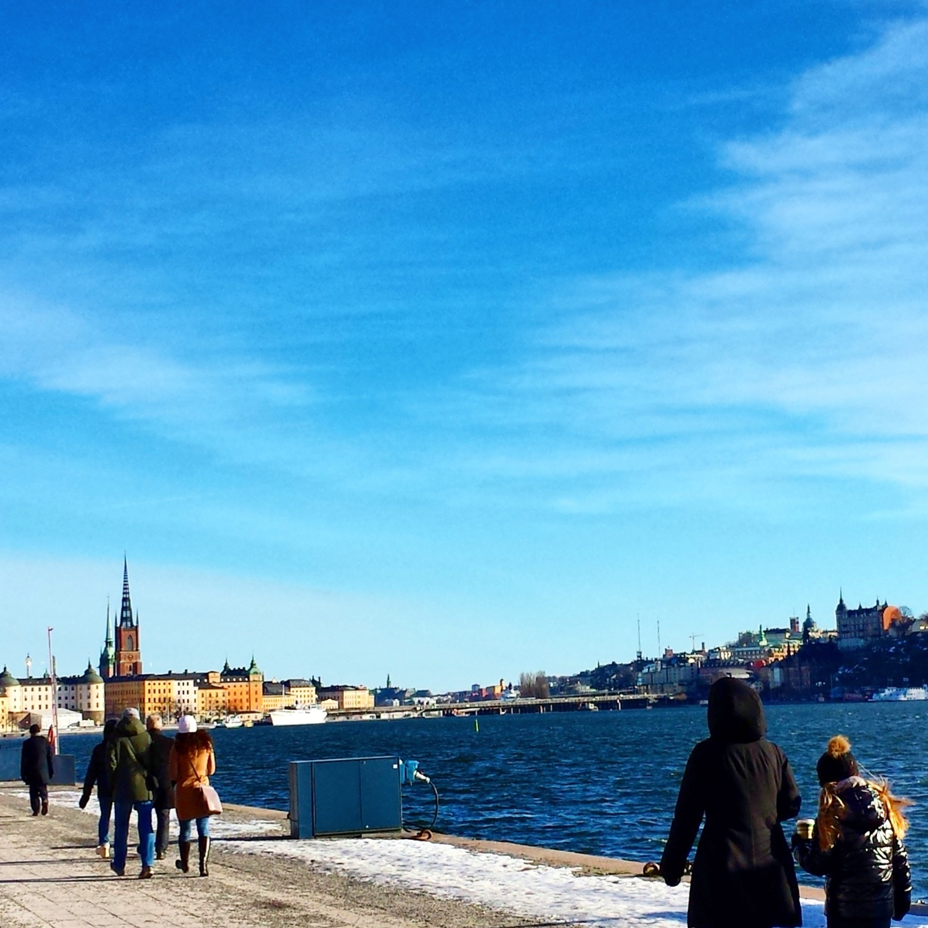 View of Gamla Stan from Norr Mälarstrand in Stockholm  |  Blue skies along Norr Mälarstrand on afeathery*nest  |  http://afeatherynest.com