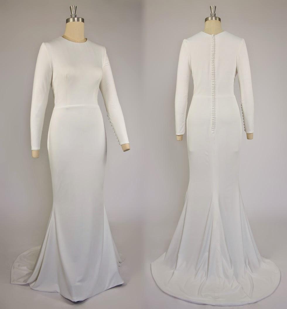 Robe de mariée hiver manche longue simple chic
