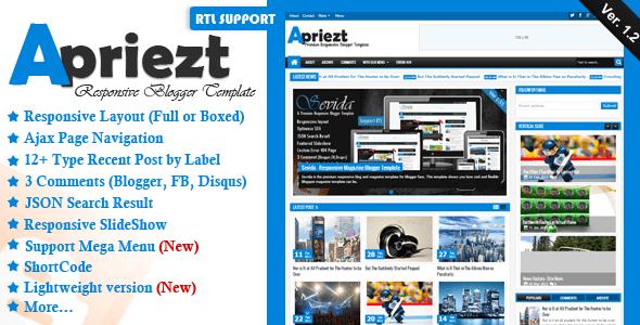 Apriezt 1.2 – Responsive Magazine/News Blogger/Blogspot Premium Template