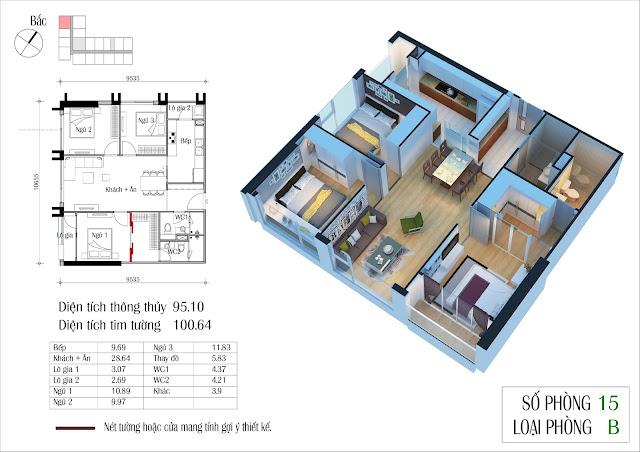 Căn hộ loại B số 15 95,1 m2 dự án Eco Green City