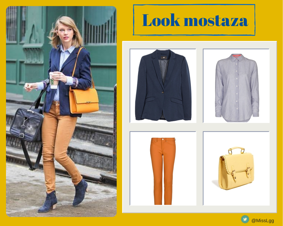 Taylor Swift Street Style: Look mostaza (Asos, Mango, H&M)