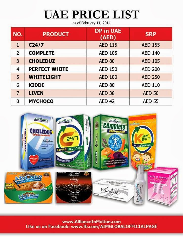 Price List of Aim Global Products of Aim Global Products,and