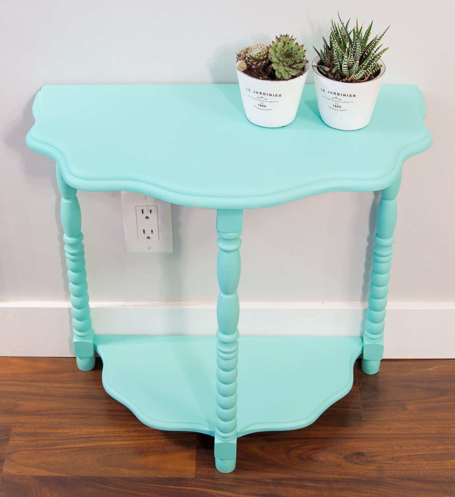 Teal spray painted table