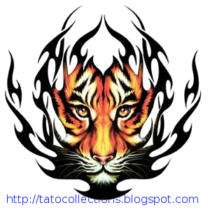 Tiger face yellow and fire effect