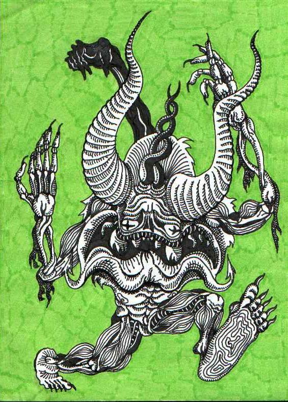 Рогатый демон. Графический рисунок тушью