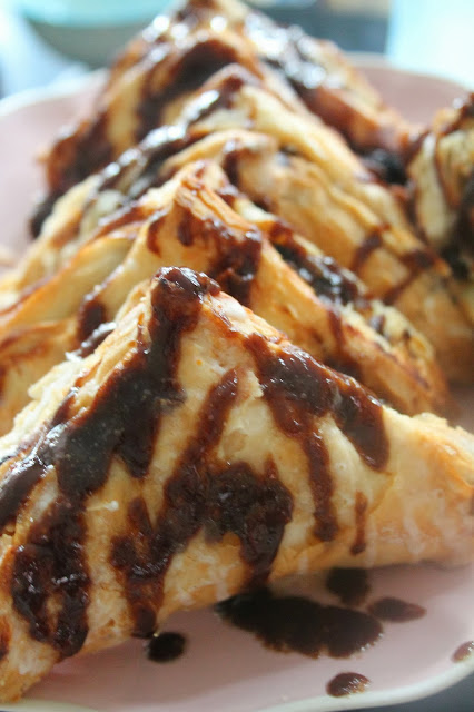 caramel apple turnovers with dark chocolate sauce