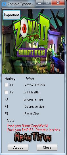 Zombie Tycoon 2 Brainhovs Revenge (32bit-64bit) Trainer +3