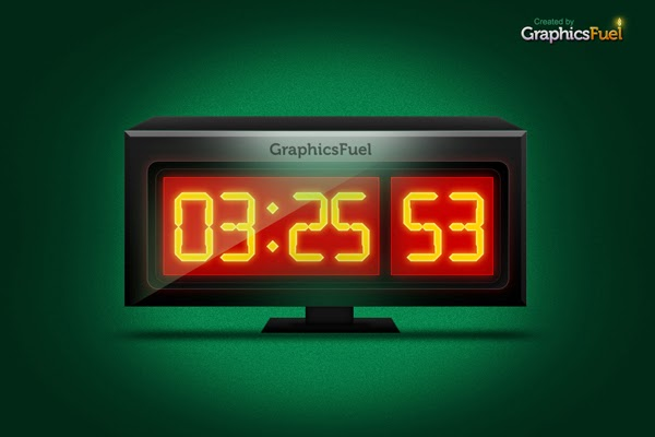 Digital Clock Graphic Icon PSD