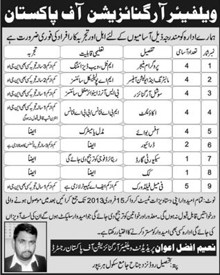 welfare organization of pakistan Job Opportunity in  daily jang