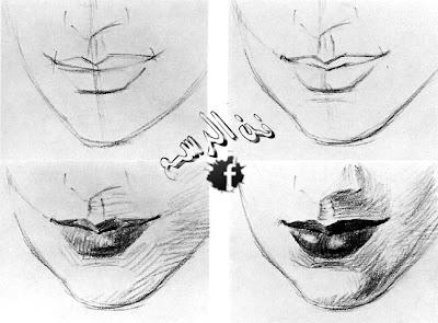 كيفية رسم الفم بالرصاص والفحم في