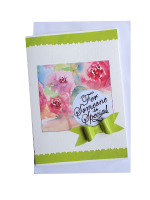 forsomeonespecial,greeting,card,bow,watercolour,green,border,handmade,craft,forsale,collection,pink