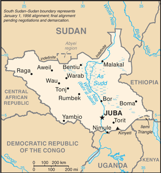 South sudan joins african union political geography now map of south sudan from the cia world factbook public domain gumiabroncs Choice Image