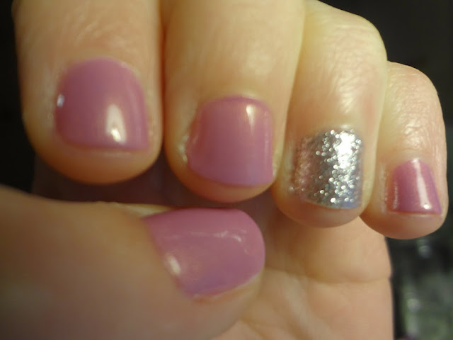 orchid polish with silver glitter accent nail