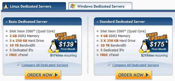 Hostgator Dedicated Linux Plans