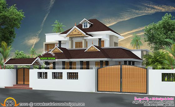 House with compound wall with gate