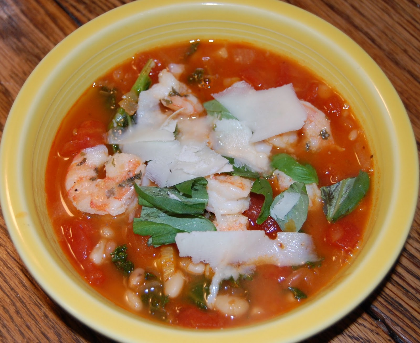 Tuscan Bean Soup with Shrimp, inspired by The Pioneer Woman.