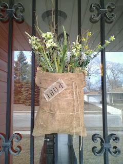 burlap flower sack, spring, sunshine