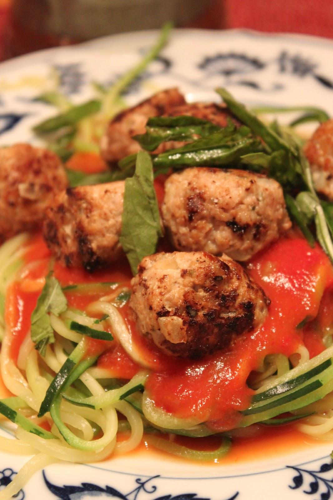 Zucchini spaghetti and sundried tomato turkey meatballs for Zucchini noodles and meatballs recipe