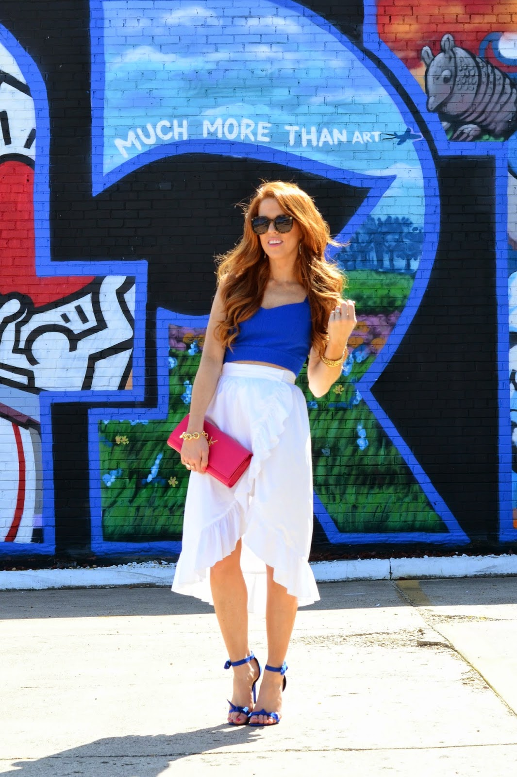 blue crop top and white ruffle skirt