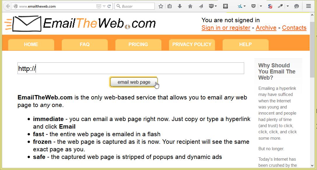Ventana principal de Email the Web