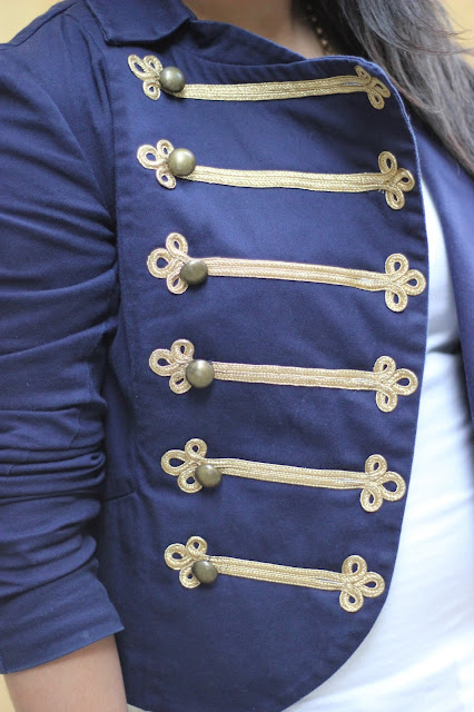 Blue and Gold Band Jacket Detail