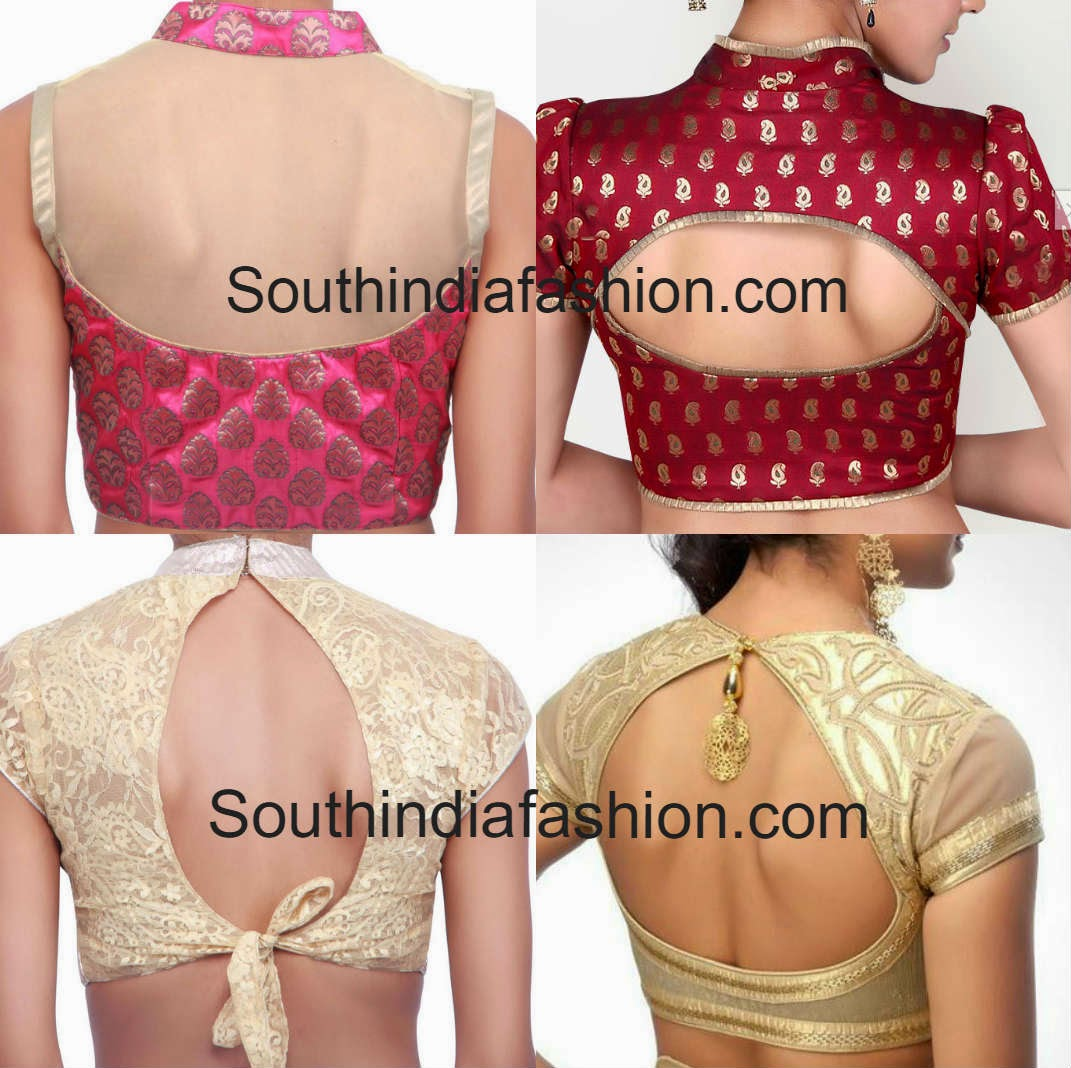 collar blouse back neck designs