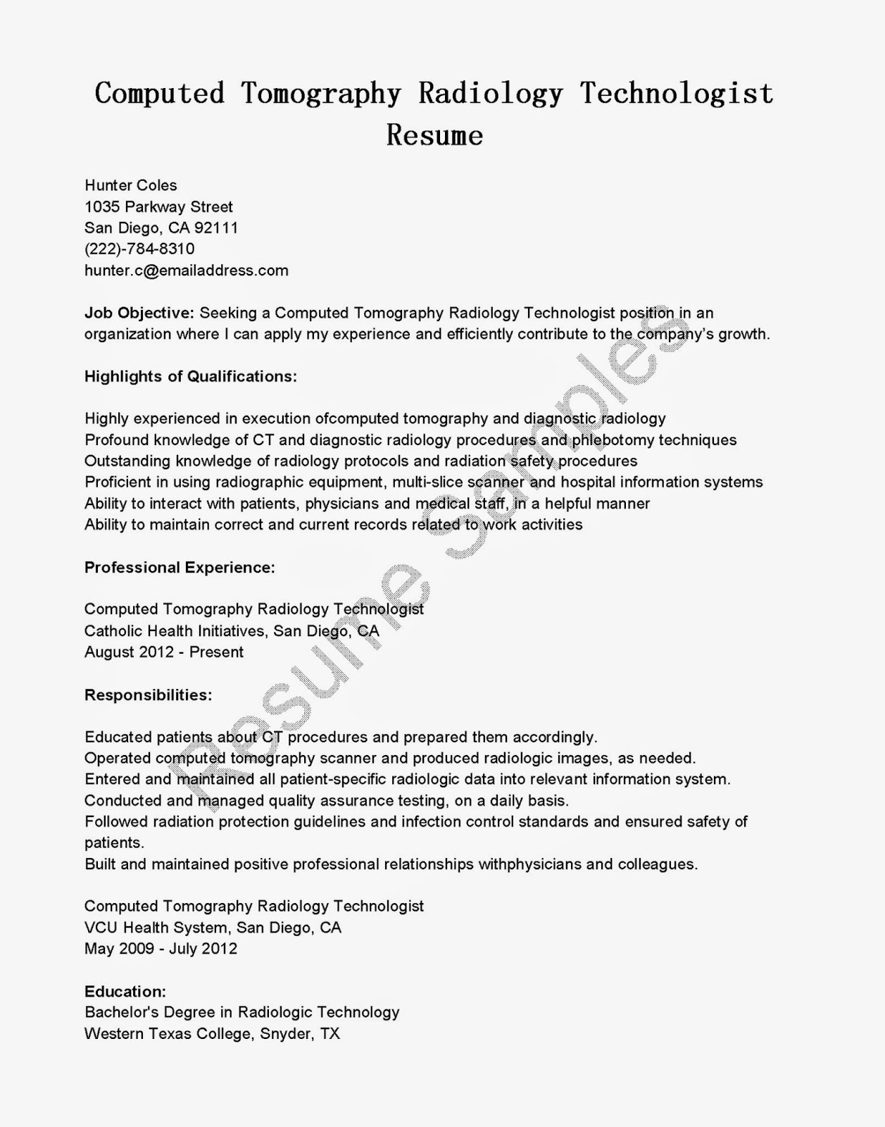 Radiologic Technologist Sample Resume 22.06.2017