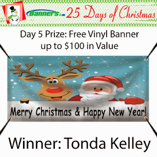 Banners.com 25 Days of Christmas Giveaway - Day 5 Winner