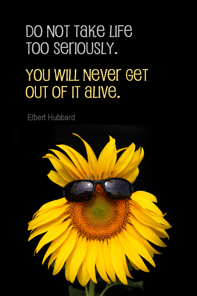 visual quote - image quotation for ATTITUDE - Do not take life too seriously. You will never get out of it alive. - Elbert Hubbard