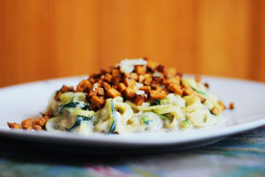 vegan caronara zucchini