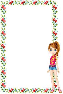 Caratula floral para cuaderno de niña de Barbie