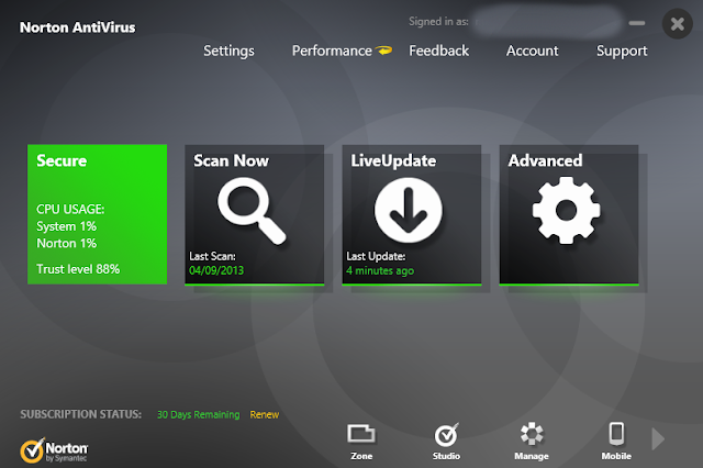 Norton Antivirus 2014 - Main Interface