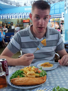 Richard attempting to scoff a Pasty AND a big portion of Fish & Chips at the Merrivale Tea Rooms in Great Yarmouth