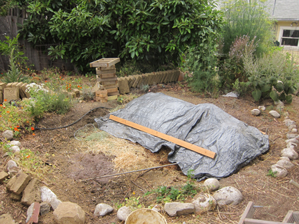 The New Compost Pile Is Covered With A Tarp To Keep Moisture In. Eventually  It Will Fill This Whole Space. In The Background You Can See Our Leftover  Adobe ...