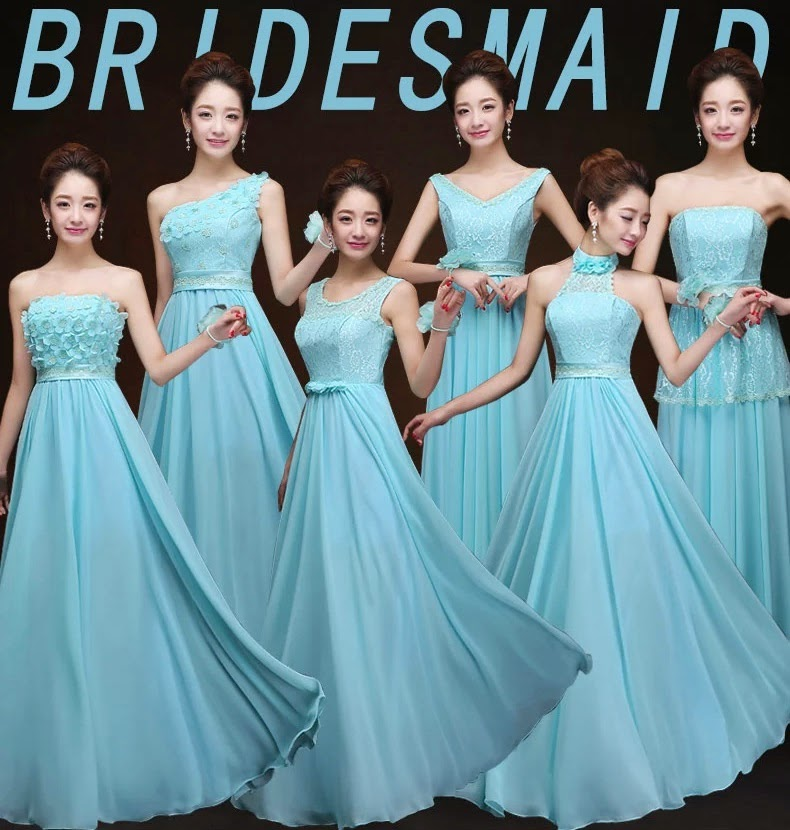 Six-Design Sky Blue Chiffon Maxi Bridesmaid Dress