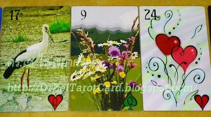 เลอนอร์มองด์ Lenormand Stork ไพ่นกกระสา 24 Heart ไพ่หัวใจ ดอกไม้ Lenormand Eclectique Card