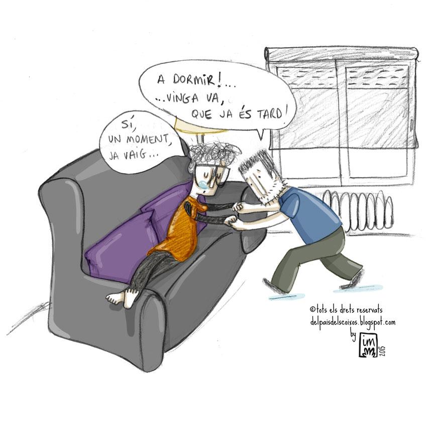 El sofà i els seus poder d'atracció que fan que no em pugui aixecar mai del sofà: Il·lustració pel webcòmic Del país dels coixos. ©Imma Mestre Cunillera