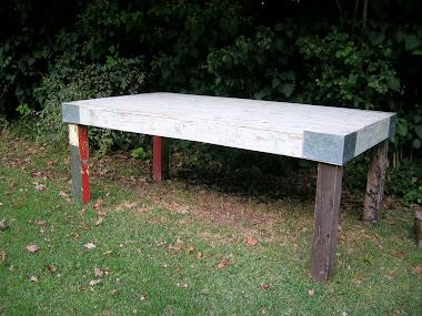 Mesa patas de viejos postes de campo 2 x 1 m