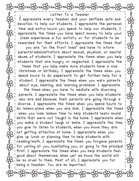 Teacher Apprecaition Letter