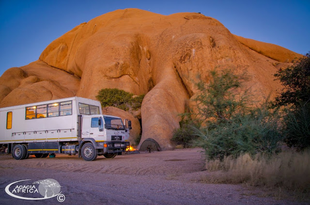 Acacia Africa Overland Truck parked up at sunset