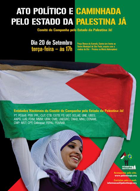 Ato político e caminhada pelo Estado da Palestina Já