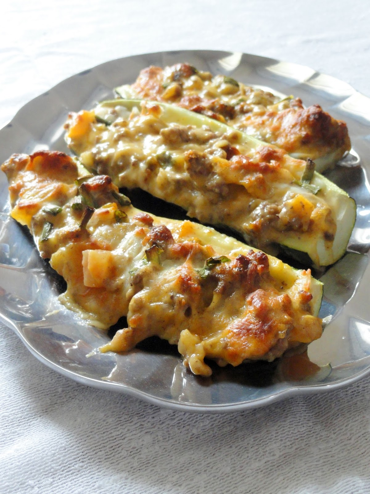 As Good As Gluten: Cheeseburger Stuffed Zucchini Boats