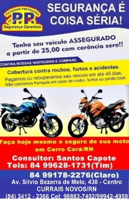 SEGURO PARA SUA MOTO AGORA EM CERRO CORÁ/RN