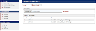 Upload appliance template