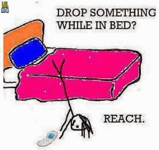 how we reatch something when we drop it while in bed - funny cartoon picture