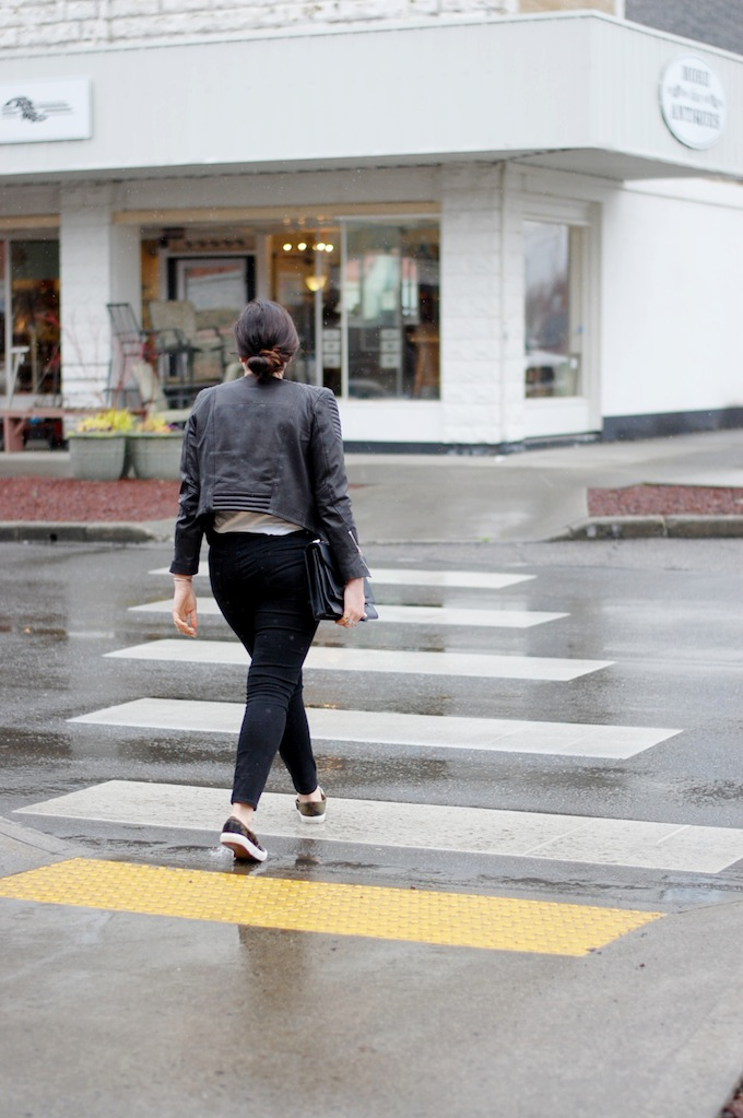 H&M Icons leather jacket Vancouver fashion blogger Aleesha Harris exploring in Linden, Washington
