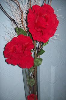 arranjo em vidro rosas grandes